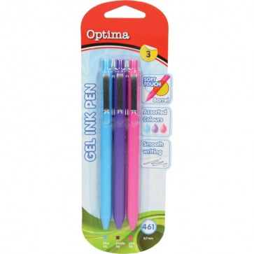 Gel pen 0,7 OPTIMA Soft Touch 461 3/1 sv.plava+roza+ljubič. 00927 bls P12/144