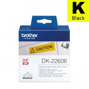 Etikete U Roli (Brother) DK22606  BK/YE 15,24m*62mm / DK-22606