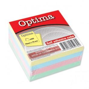 Blok samolj.kocka 76x76 pastel 4 boje OPTIMA 400L 22916 P12/72