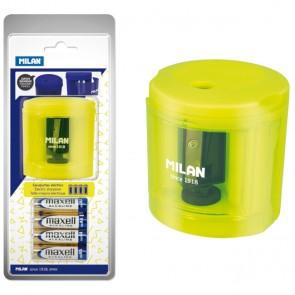 Šiljilo električno MILAN + 4 baterije blister žuto acid P12/36