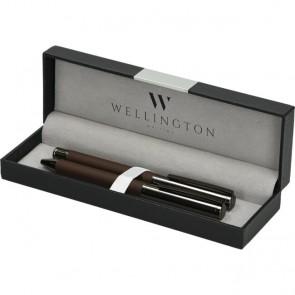 Set pisaći Wellington Stamford ol.kem + roler smeđi u poklon kutiji P1/2