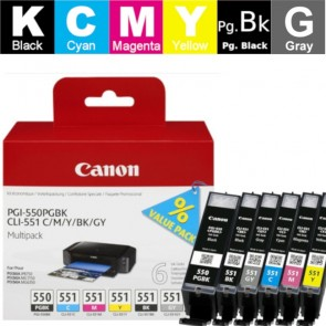 Set Tinta (Canon) PGI-550/CLI-551BK/CY/MA/YE/GY / 6496B005